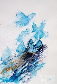 Blue butterflies Painting  - Blue butterflies Fine Art Print