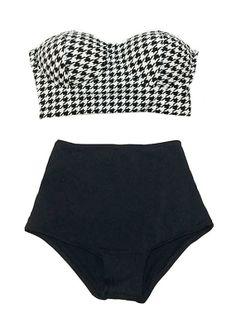 Houndstooth Shinori White Black Scallop Tie Back Top and Black High Waisted Waist Shorts Bottom Swimsuit wimwear Bikini Bathing suit S M L