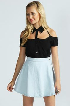 Cut Out Neck Detail Viscose Blouse.  So cute <3 love it in white boohoo.com