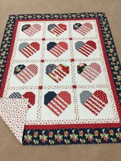 Close to My Heart Quilt Pattern Heart Quilt Pattern, Quilt Block Patterns, Quilt Blocks, Patriotic Quilts, Patriotic Crafts, American Flag Quilt, History Of Quilting, Quilt Of Valor, Blue Quilts