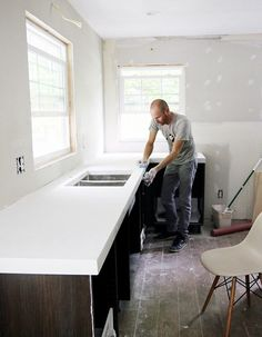 DIY white concrete countertops