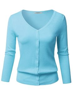 Women's Clothing, Sweaters, Cardigans, Women's Solid Button Down V-Neck Sleeves Knit Cardigan - Light Blue - Cardigans For Women, Hats For Women, Clothes For Women, Unique Outfits, Cool Outfits, Maid Outfit, Knit Cardigan, Blazer Jacket, Trendy Fashion