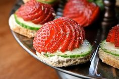 STRAWBERRY TEA SANDWICHES WITH A TWIST -------------------------------------------------- 8 Slices of Ultra Thin Sandwich Bread 4 ounce(s) of Philadelphia Cream Cheese, softened 3/4 tbsp. of Balsamic Glaze 1 English Cucumber 8 Strawberries 16 pinch of Kosher Salt 16 pinch of Dill, dried or fresh
