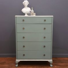 Vintage chest of drawers painted using Annie Sloan Duck egg blue chalk paint by Love Restored.