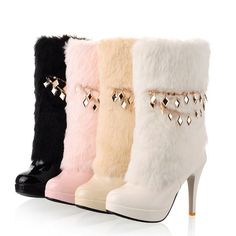 2959dc812eabae Womens Platform Chains Fur Furry Stiletto High Heels Pull On Mid Calf Boots