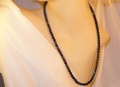 c1920s Long Black / Jet Crystal Necklace by MarlosMarvelousFinds, $30.00