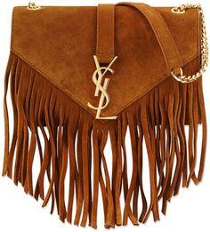 Saint Laurent Monogram Suede Fringe Shoulder Bag