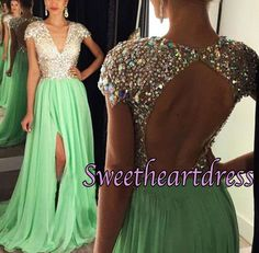 2016 sparkly sequins top green chiffon long prom dress with cap sleeves, occasion dress, prom dresses for teens #coniefox #2016prom