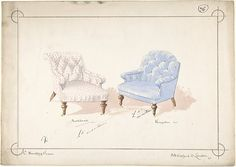Charles Hindley and Son (British, 1841). Designs for Two Chairs, 1841-84. The Metropolitan Museum, New York. Harris Brisbane Dick Fund, 1946 (46.38.53)