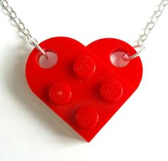 Cute LEGO heart necklace, which is also available in gold- or silver-plated. I want!