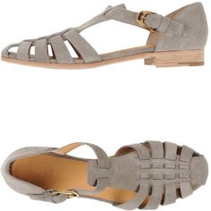 Church's Sandals ($282) ❤ liked on Polyvore featuring shoes, sandals, flats, grey, leather shoes, gray flat shoes, buckle sandals, leather flat shoes and leather sole sandals