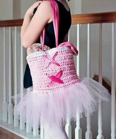 TuTu Cute Ballet Tote Bag Crochet Pattern + How to Crochet a Simple Flower by Carrie Carpenter and HappyBerry Crochet