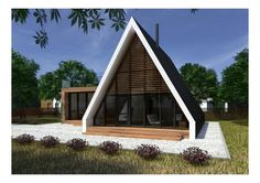 Triangle House, A Frame House Plans, Dome House, Tiny House Design, House In The Woods, Log Homes, Building A House, Architecture Design, Cottage