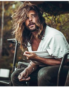 Long Hair And Beard ❤️ Want to pull off one of those masculine viking hairstyles? Check out our gallery to find the most iconic mens haircuts for and long hair: braids, undercut, top knot, and lots of ideas are here! Hair And Beard Styles, Curly Hair Styles, Natural Hair Styles, Jack Greystone, Wavy Hair Men, Men Long Hair, Long Hair Beard, Trendy Hair, Beard Growth Oil