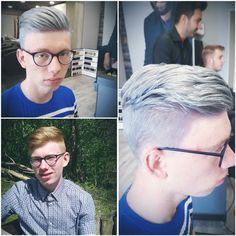  Before-After    Tom kwam binnen met een rossige haarkleur. Hij wilde graag een toffe grijstint met een touch of blue!