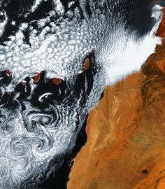 Swirling cloud art in the Atlantic Ocean.  Photo: ESA