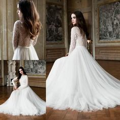 Vintage Lace Long Sleeves Wedding Dresses A-Line Sheer Crew Covered Button Back White Church Tulle Train Bridal Dress Gowns Ball Muslim Online with $126.39/Piece on Hjklp88's Store