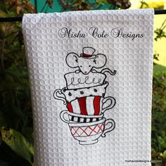 Mad Hatter Mouse in Tea Cups Tea Towel in by mishacoledesigns, $13.00