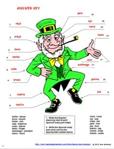 St. Patrick's Day Label the Leprechaun with 16 Body Parts in Spanish