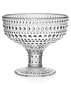 Iittala Kastehelmi Footed Bowl, Pink, Crafted from pressed glass, this artful hobnail bowl will add color and style to any table.