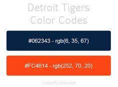 detroit tigers team color codes
