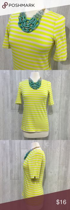 "LOFT Striped Tee LOFT Striped Tee, Bright Yellow & Cream, Partial Zip-Up Back, 100% Cotton (heavier, thicker cotton), From Shoulder to Bottom Hem Measures 26"", Armpit to Armpit Measures 17"" Across, Great Dressed Up or Down, Great Condition, Mild Pilling Throughout (slightly visible) LOFT Tops Tees - Short Sleeve"