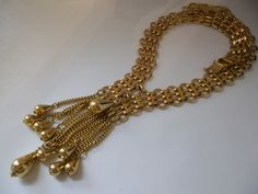NAPiER STATEMENT GOLD NECKLACE with Tassel Beads/ Big Bold Gold Runway Vintage Jewelry/ Designer Chic Fashion Gold Jewelry