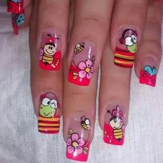 Funky Nail Art, Crazy Nail Art, Crazy Nails, Cute Nail Art, Cute Nails, Spring Nails, Summer Nails, Nail Polish Designs, Nail Art Designs