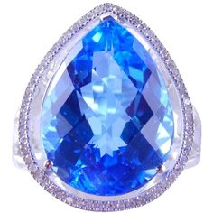 Pre-owned Natural Blue Topaz Pear Shape Ring W/halo Around ($1,060) ❤ liked on Polyvore featuring jewelry, rings, accessories, white, pre owned jewelry, preowned jewelry, pear shape ring, graduation jewelry and trio rings