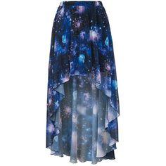 Blue Cosmic Print Dip Hem Maxi Skirt ($24) ❤ liked on Polyvore