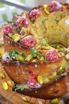 Give Candice's raspberry and rhubarb custard drizzle cake from Great British Bake Off a go.