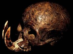 DAYAK CARVED: HEAD HUNTING HUMAN TROPHY  SKULL WITH TWO BOAR TUSKS + RATTAN LASHING  HAND CARVED HUMAN BONE