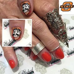 """""""The finish product of #pistolfiringPete. Have you ever seen #PistolPete with his hat off? It's Football season in Oklahoma!! Our talented nail artist is drawing #PistolPete on Miss Joanne's nails, one of our fave long term clients! Stay tuned for the finale! #osu #osufootball #osuCowboys #cowboys #collegeFootbal #goPete #goCowboys #gopokes #big12Football #getpolished #getPamperedAtPolished #polishednailsok"""
