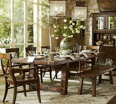 Shop dining room table from Pottery Barn. Our furniture, home decor and accessories collections feature dining room table in quality materials and classic styles. Dining Room Sets, Dining Room Furniture, New Furniture, Dining Area, Round Dining, Large Dining Room Table, Dinning Set, Wooden Dining Tables, Classic Furniture