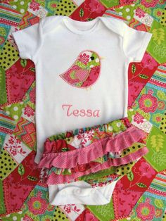 Personalized Bird Onesie and Diaper Cover Set- Personalized Embroidered Pink Onesie Set-Personalized Embroidered Bird Onesie