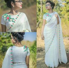 white blouse design with floral patterns Saree Jacket Designs, Saree Blouse Neck Designs, Salwar Designs, Dress Neck Designs, White Blouse Designs, Kalamkari Dresses, Saree Jackets, Sari Design, Stylish Blouse Design