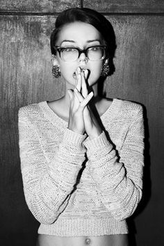 hair, glasses and sweater, earrings