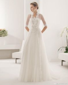 2014 Fashionable Long Jacket Wedding Dress Strapless 1/2 Sleeve Aplique Hand Made Flower Sash Covered Button Court Train Tulle A Line Birdal Wedding Gown Designers Wholesale Wedding Dresses From Nt_home_textile, $150.42| Dhgate.Com