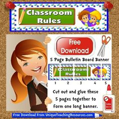 FREE DOWNLOAD:    Download and print this free 5 page Classroom Rules bulletin board display banner for your classroom, and many more FREE banners from Unique Teaching Resources!