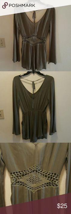 Crepon gauze romper Long sleeves crepon gauze tie back crochet waist trim Romper. Olive green color. estam Other