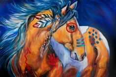 NEW ORIGINAL, Marcia Baldwin - American Indian Painted Palomino Paint War Pony.
