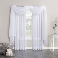 No 918 Emily Sheer Voile Curtain Scarf – Curtains 2020 Scarf Curtains, Window Scarf, Voile Curtains, Hanging Curtains, Window Curtains, Curtain Scarf Ideas, Bay Window, Window Curtain Designs, Decorative Curtain Rods