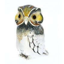 Sterling Silver & Enamel Owl by Saturno