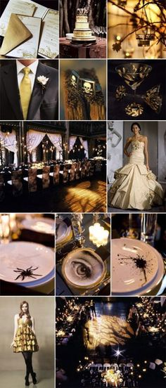Wedding colors : wedding colors decor elegant halloween Halloween Goth Wedding Black And Gold