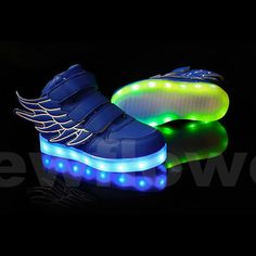 NEW-2017-Boys-Girls-LED-Light-up-USB-Charger-Sneakers-Wings-High-help-Kids-Shoes