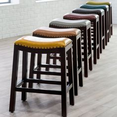 Belham Living Hutton Leather Backless Saddle Counter Stool with Nailheads | from hayneedle.com