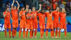 The Netherlands line up for a penalty shootout during the 2014 FIFA World Cup Brazil Quarter Final match