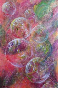 Bubbles in Red, small version. Abstract painting