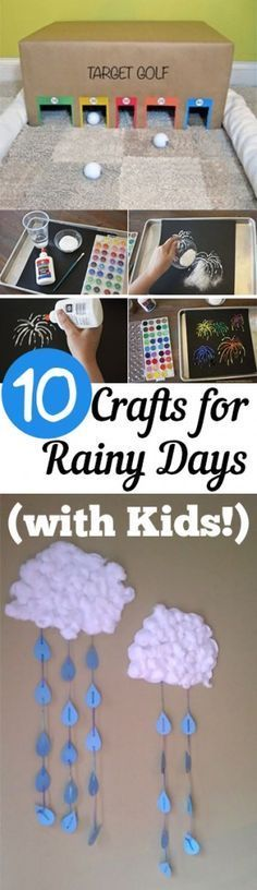 Rain, rain go away... Rainy day crafts for the kids! Fun and fairly simple ways to keep the kids entertained this summer whether there's rain or it's too hot to go outside! From My List of Lists