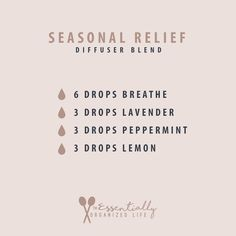 For the seasonal allergy sufferer this diffuser blend can help to alleviate symptoms. This blend of doTERRAs Breathe, Lavender, Peppermint and Lemon work together to open airways, relieve a runny … #Essentialoildiffusers